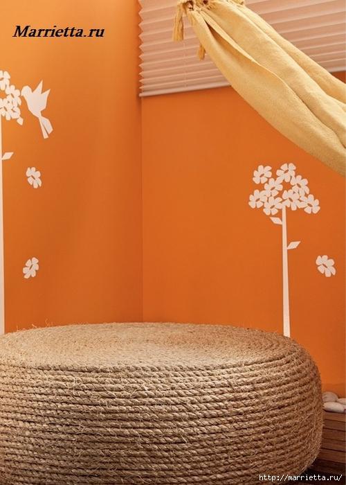 Пуфик, кашпо для цветов и мягкий эко-стульчик из покрышек (23) (500x700, 250Kb)