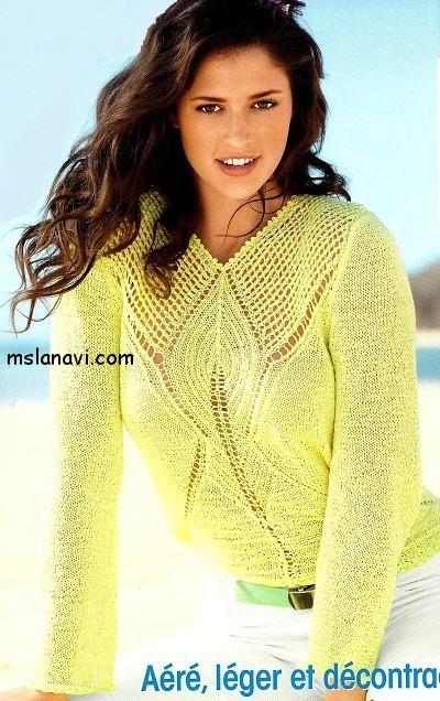 ажурный-пуловер-спицами (400x636, 113Kb)