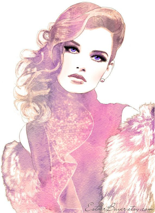 Prestige - Glamorous Watercolor Fashion Illustration Fine Art Print (508x700, 349Kb)