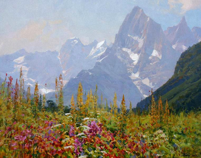 Вид на алибек - картина, 140x90 cm 2014 - aleksander babich - реализм, холст, времена года, природа, купить картину
