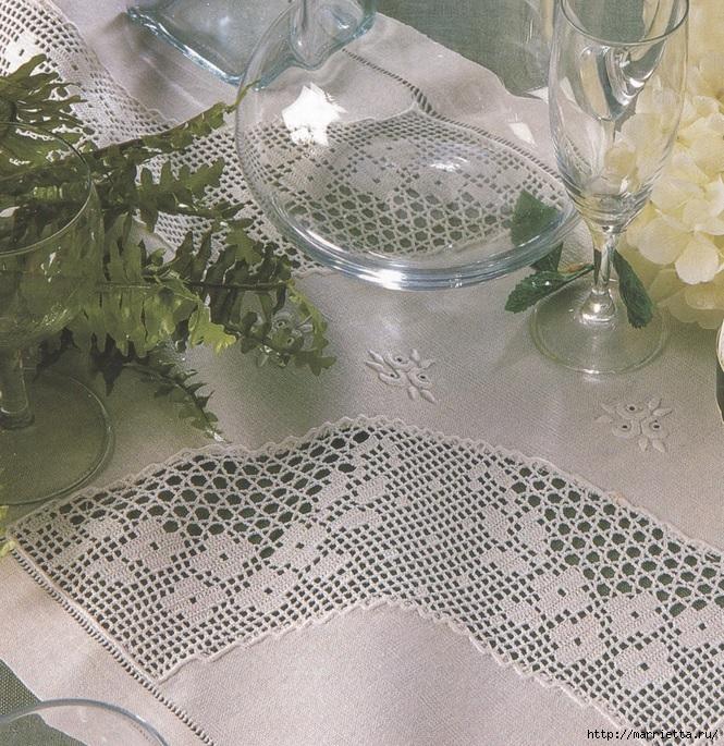 Льняная ткань и крючок. Схемы для вязания скатерти (3) (665x685, 431Kb)