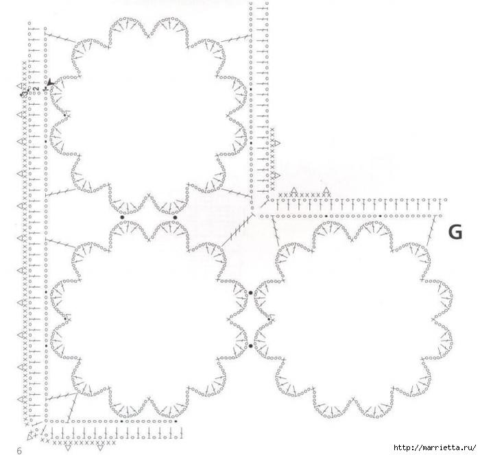 Льняная ткань и крючок. Схемы для вязания скатерти (7) (700x664, 148Kb)