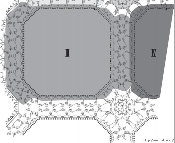 Льняная ткань и крючок. Схемы для вязания скатерти (13) (700x571, 210Kb)