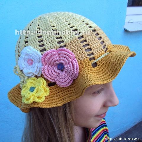 вязаная шляпка для девочки, как связать щляпку для девочки, схема вязания шляпки для девочки,