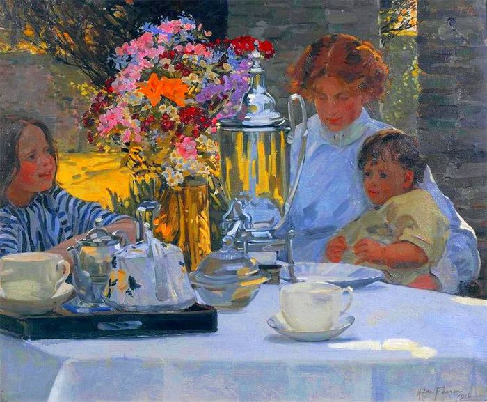 2Hilda Fearon.The Tea Party, 1916 (700x577, 100Kb)