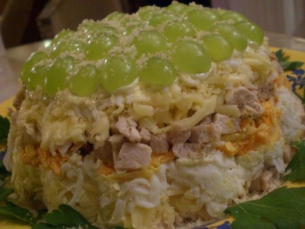 Салат слоеный с курицей. (604x453, 51Kb)