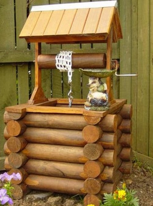 Декоративный колодец на даче своими руками из покрышек