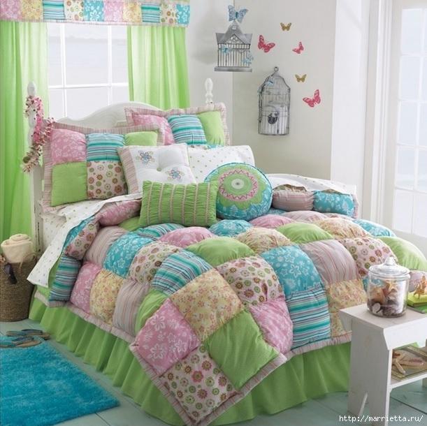 Пэчворк. Теплое лоскутное одеяло (1) (611x610, 240Kb)