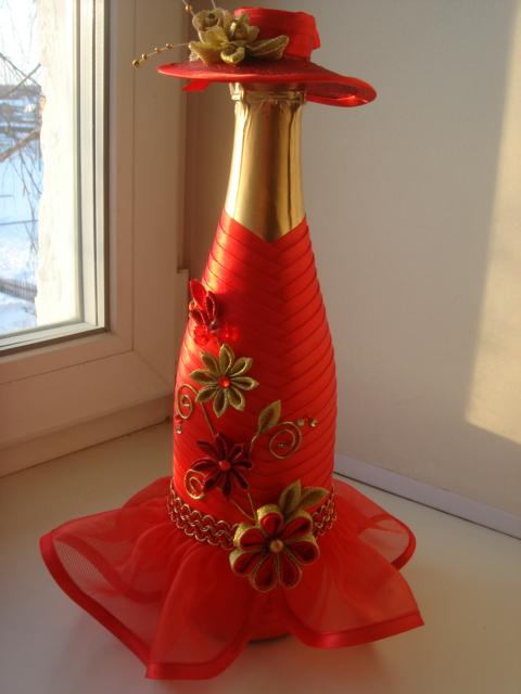 Как украсить бутылку шампанского на день рождения