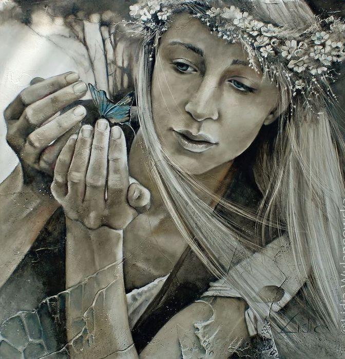 1Lidia Wylangowska.Blue Butterfly (672x700, 110Kb)