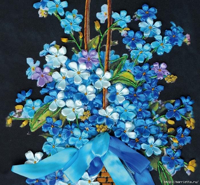 Вышивка лентами по декорированному холсту. Картины Натюрморты с цветами (2) (700x645, 489Kb)