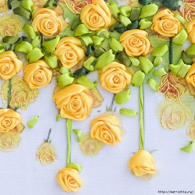 Вышивка лентами по декорированному холсту. Картины Натюрморты с цветами (4) (663x662, 298Kb)
