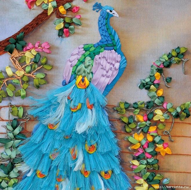 Вышивка лентами по декорированному холсту. Картины Натюрморты с цветами (6) (659x657, 430Kb)