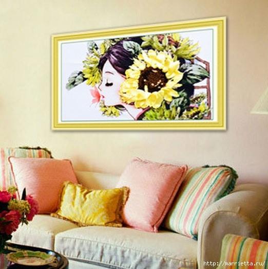 Вышивка лентами по декорированному холсту. Картины Натюрморты с цветами (11) (522x523, 159Kb)