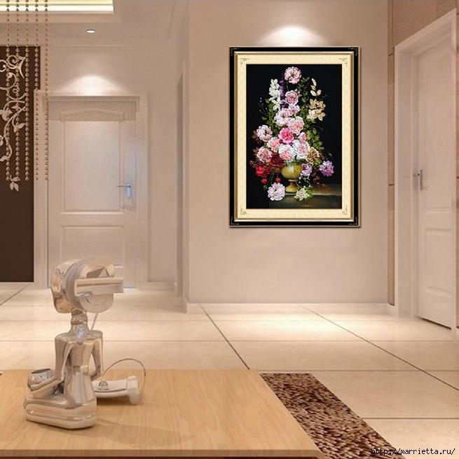 Вышивка лентами по декорированному холсту. Картины Натюрморты с цветами (14) (655x654, 207Kb)