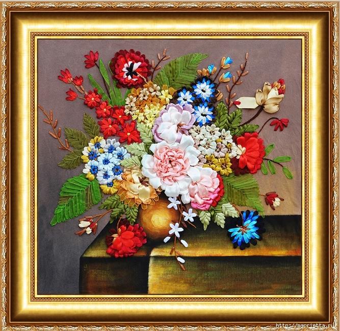 Вышивка лентами по декорированному холсту. Картины Натюрморты с цветами (17) (667x648, 428Kb)