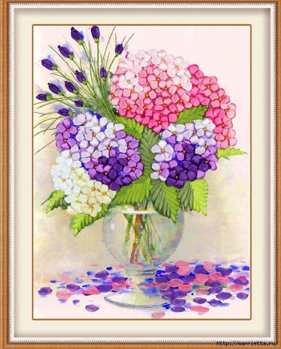 Вышивка лентами по декорированному холсту. Картины Натюрморты с цветами (20) (548x679, 313Kb)