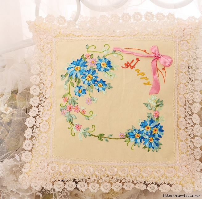 Вышивка лентами по декорированному холсту. Картины Натюрморты с цветами (23) (655x646, 341Kb)