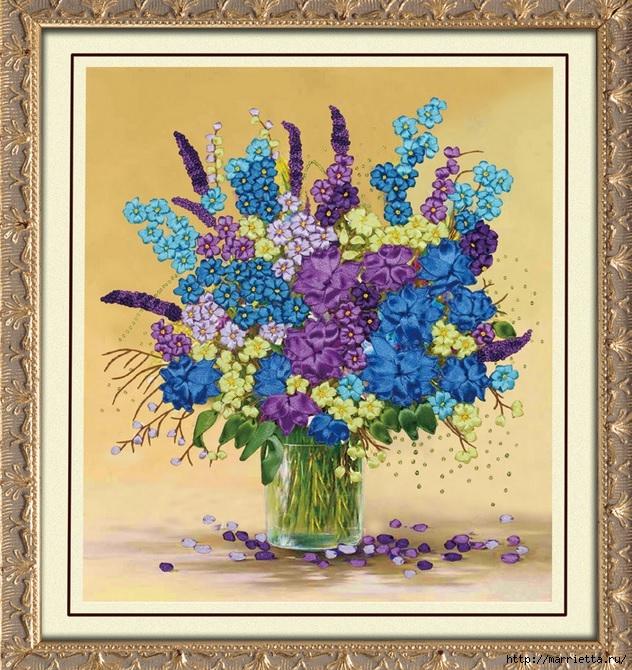 Вышивка лентами по декорированному холсту. Картины Натюрморты с цветами (28) (632x670, 372Kb)