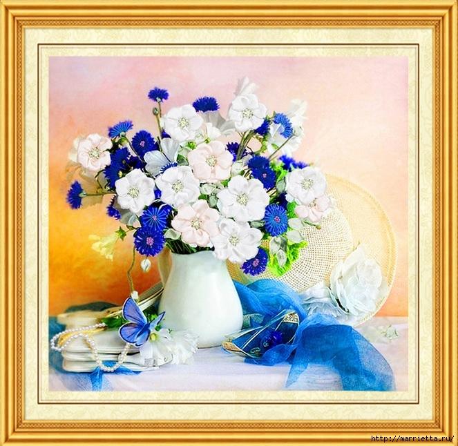 Вышивка лентами по декорированному холсту. Картины Натюрморты с цветами (30) (663x646, 316Kb)