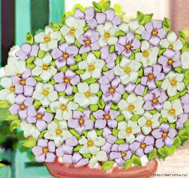 Вышивка лентами по декорированному холсту. Картины Натюрморты с цветами (32) (664x626, 368Kb)