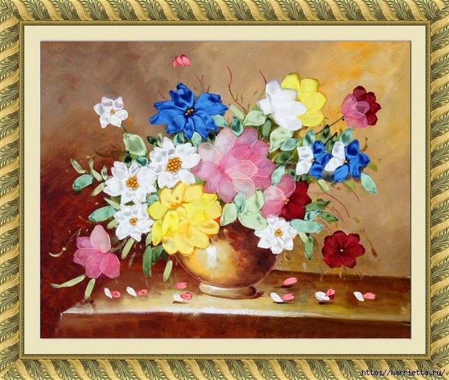 Вышивка лентами по декорированному холсту. Картины Натюрморты с цветами (34) (645x545, 306Kb)