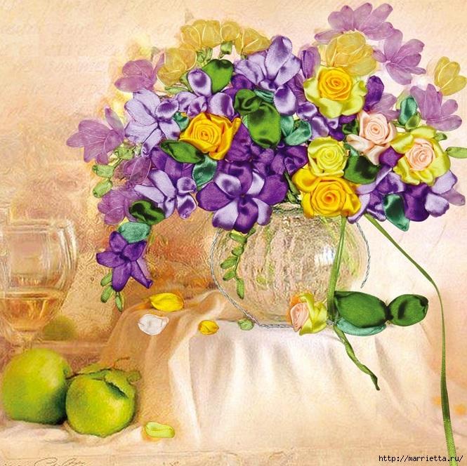 Вышивка лентами по декорированному холсту. Картины Натюрморты с цветами (36) (665x664, 342Kb)