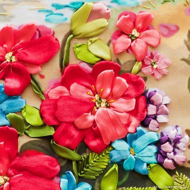 Вышивка лентами по декорированному холсту. Картины Натюрморты с цветами (40) (663x661, 350Kb)