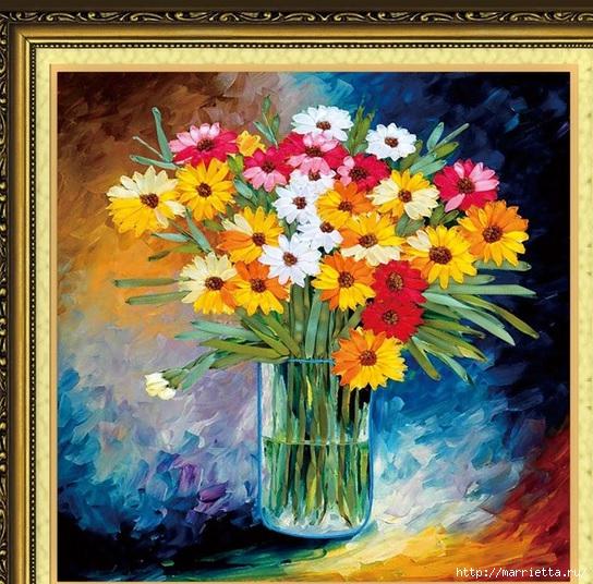 Вышивка лентами по декорированному холсту. Картины Натюрморты с цветами (42) (544x536, 268Kb)