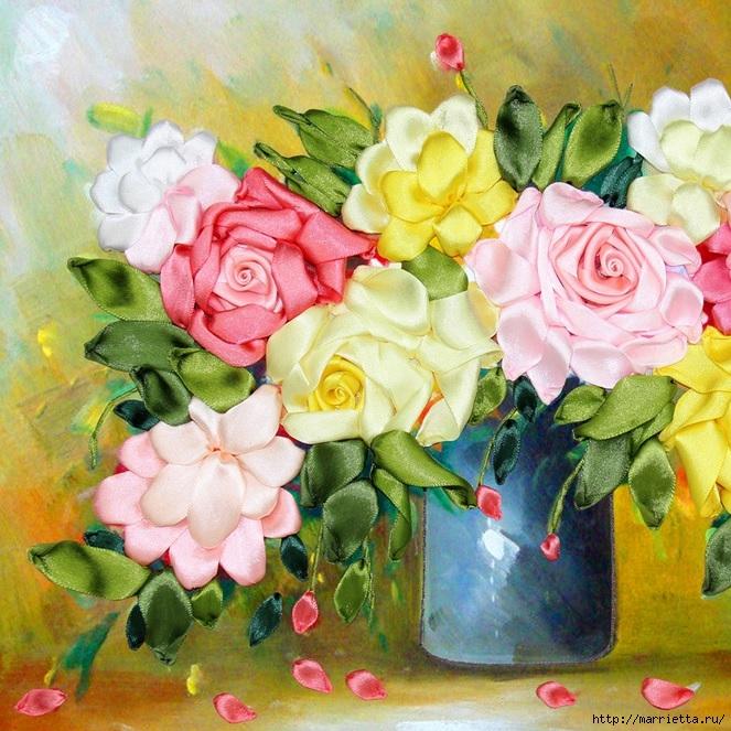 Вышивка лентами по декорированному холсту. Картины Натюрморты с цветами (44) (663x663, 350Kb)