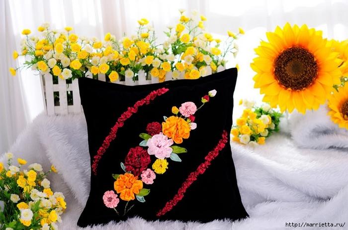 Вышивка лентами по декорированному холсту. Картины Натюрморты с цветами (46) (700x462, 247Kb)