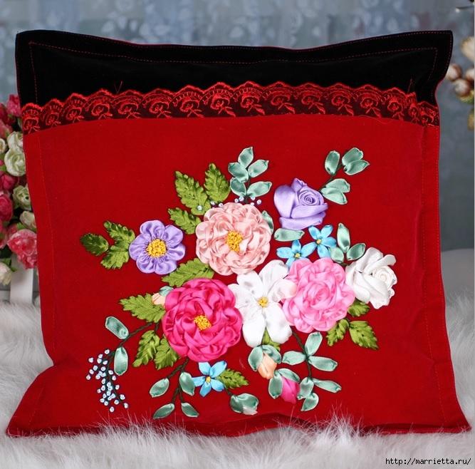 Вышивка лентами по декорированному холсту. Картины Натюрморты с цветами (48) (667x658, 303Kb)