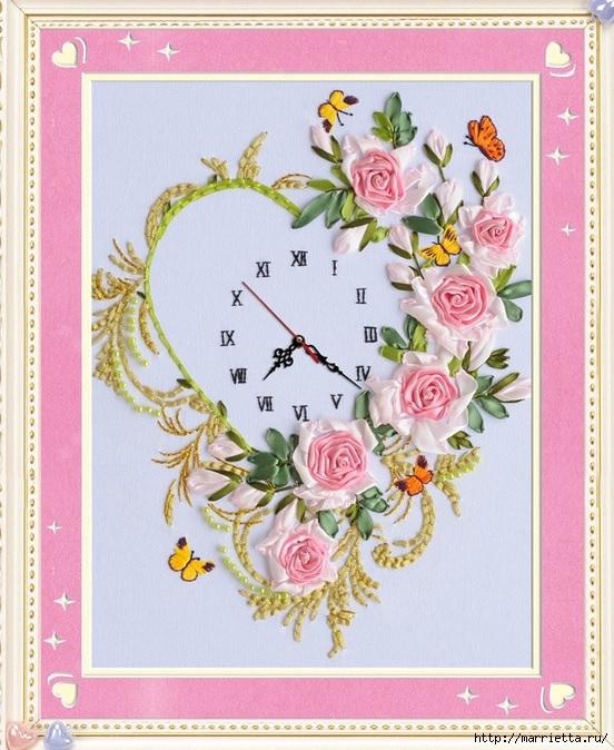 Вышивка лентами по декорированному холсту. Картины Натюрморты с цветами (52) (552x674, 275Kb)