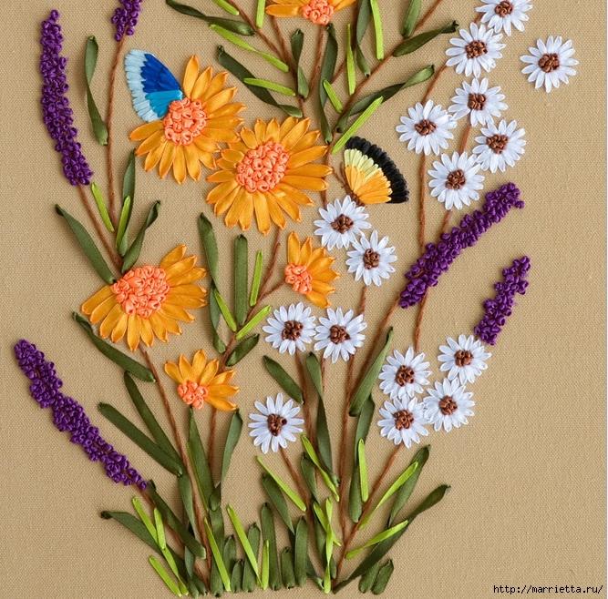 Вышивка лентами по декорированному холсту. Картины Натюрморты с цветами (56) (667x658, 431Kb)