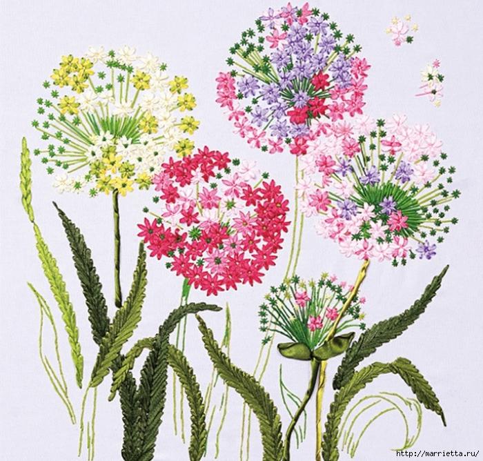 Вышивка лентами по декорированному холсту. Картины Натюрморты с цветами (58) (700x668, 413Kb)