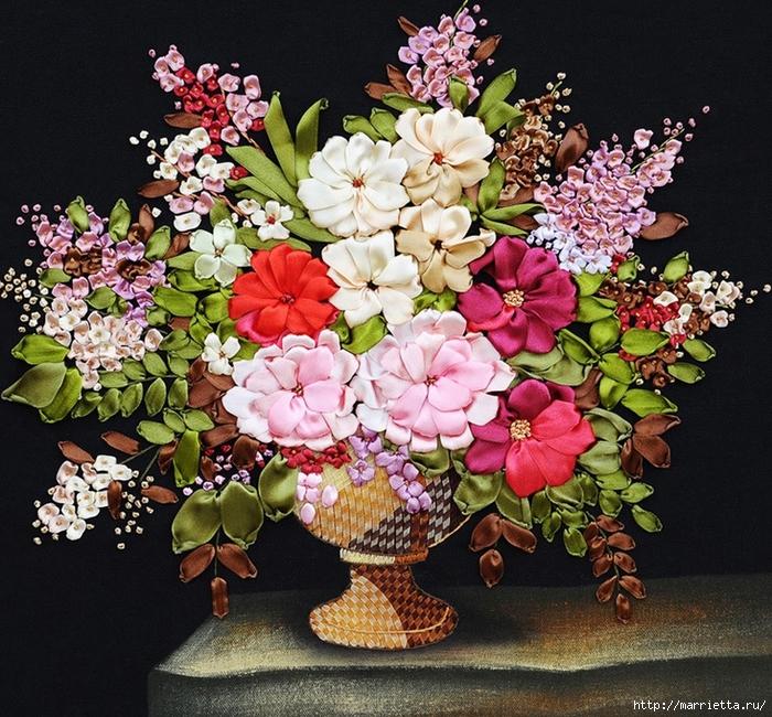 Вышивка лентами по декорированному холсту. Картины Натюрморты с цветами (60) (700x650, 451Kb)