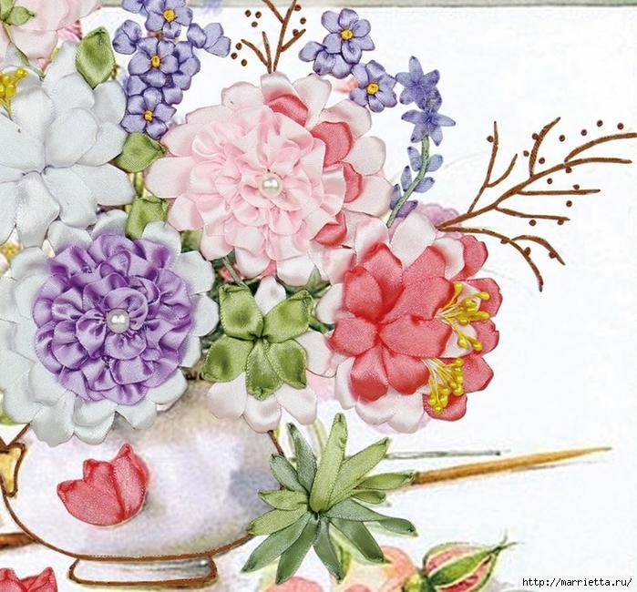Вышивка лентами по декорированному холсту. Картины Натюрморты с цветами (61) (700x650, 382Kb)