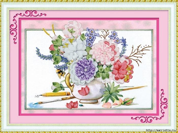 Вышивка лентами по декорированному холсту. Картины Натюрморты с цветами (62) (700x524, 314Kb)