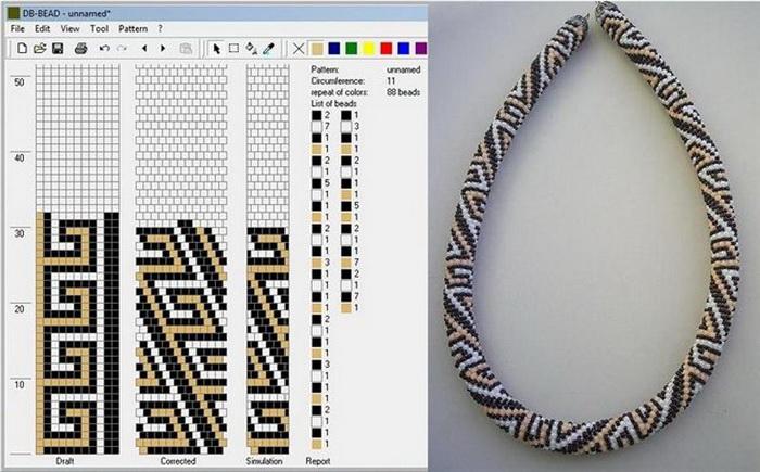 Схема для плетения жгута из бисера крючком