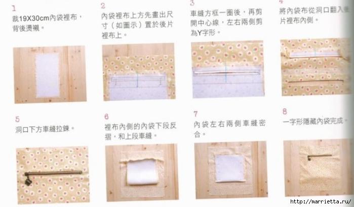 Интересная сумочка и косметичка с цветами из ткани (9) (700x409, 151Kb)