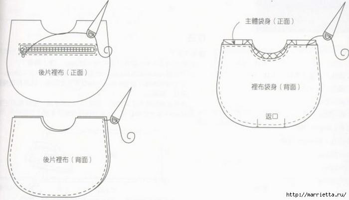 Интересная сумочка и косметичка с цветами из ткани (15) (700x402, 91Kb)