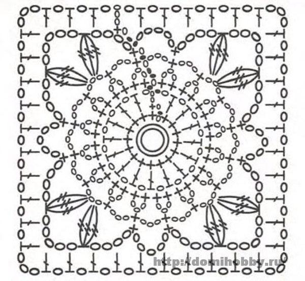 Вязание красивых квадратов крючком схемы