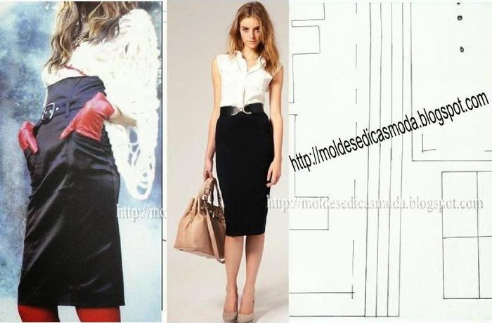 Выкройка для юбки с высоким поясом