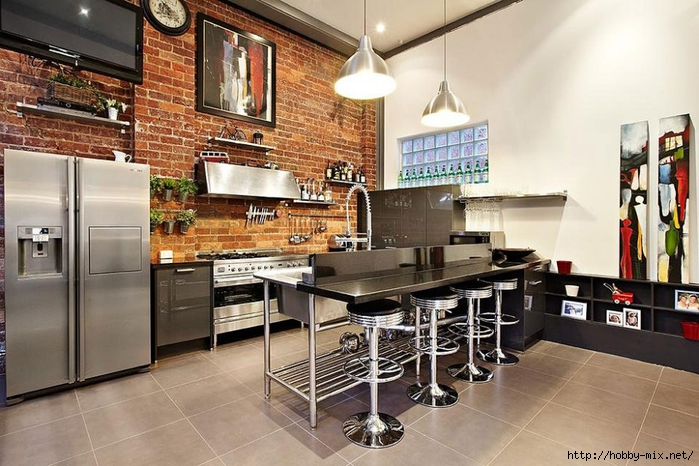 Sleek-Industrial-Kitchen-Design-with-Exposed-Brick-Wall-and-Dome-Pendant-Lamps-Above-the-Island-with-Chrome-Bar-Stools-Mollison-Conversion-936x624 (700x466, 281Kb)