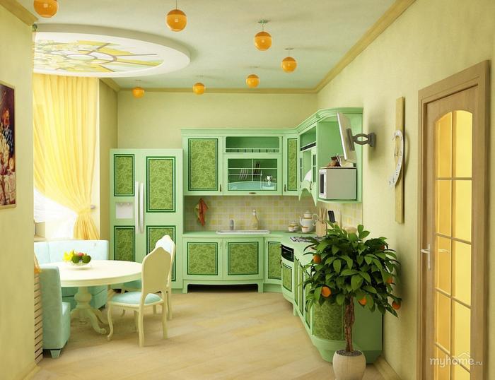 Мебель для кухни в зеленых тонах – природное тепло в любом пространстве (1) (700x538, 364Kb)