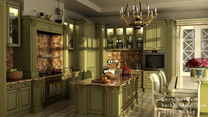 Мебель для кухни в зеленых тонах – природное тепло в любом пространстве (10) (700x393, 334Kb)