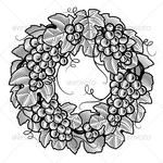 Превью P-Retro-grapes-wreath-black-and-white (590x590, 296Kb)