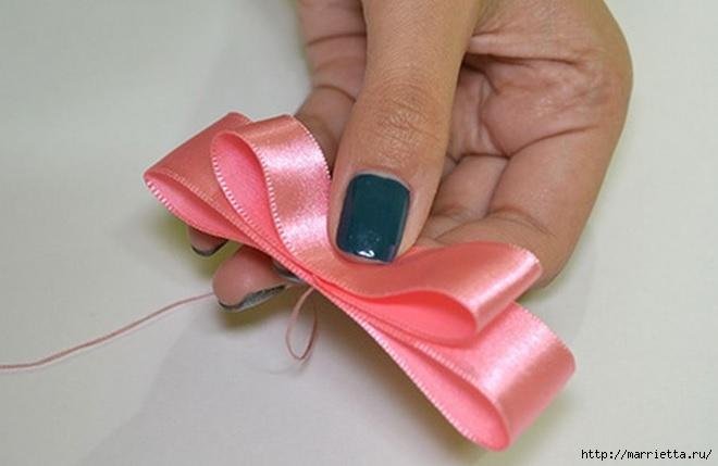 Декорирование ободка для волос бантиком и розочкой из ленты (5) (660x429, 106Kb)