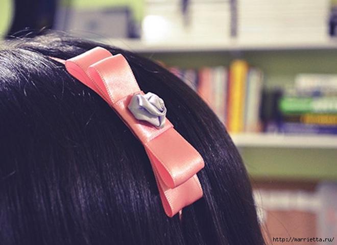 Декорирование ободка для волос бантиком и розочкой из ленты (13) (660x480, 141Kb)