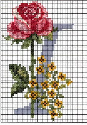 Буквы в розочках. Вышивка крестом английского алфавита (20) (351x500, 232Kb)